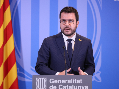 El president Aragonès durant la roda de premsa després de la reunió amb el president del govern espanyol
