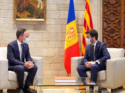 El president de la Generalitat i el cap del Govern d'Andorra, durant la reunió