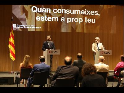 El conseller Torrent i el director de l'ACC en la presentació de la campanya