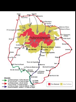 Plànol dels serveis de Bus al Parc Nacional d'Aigüestortes i Estany de Sant Maurici