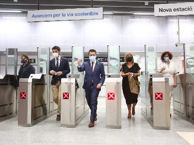 El president Aragonès a la inauguració de l'estació Ernest Lluch de l'L5