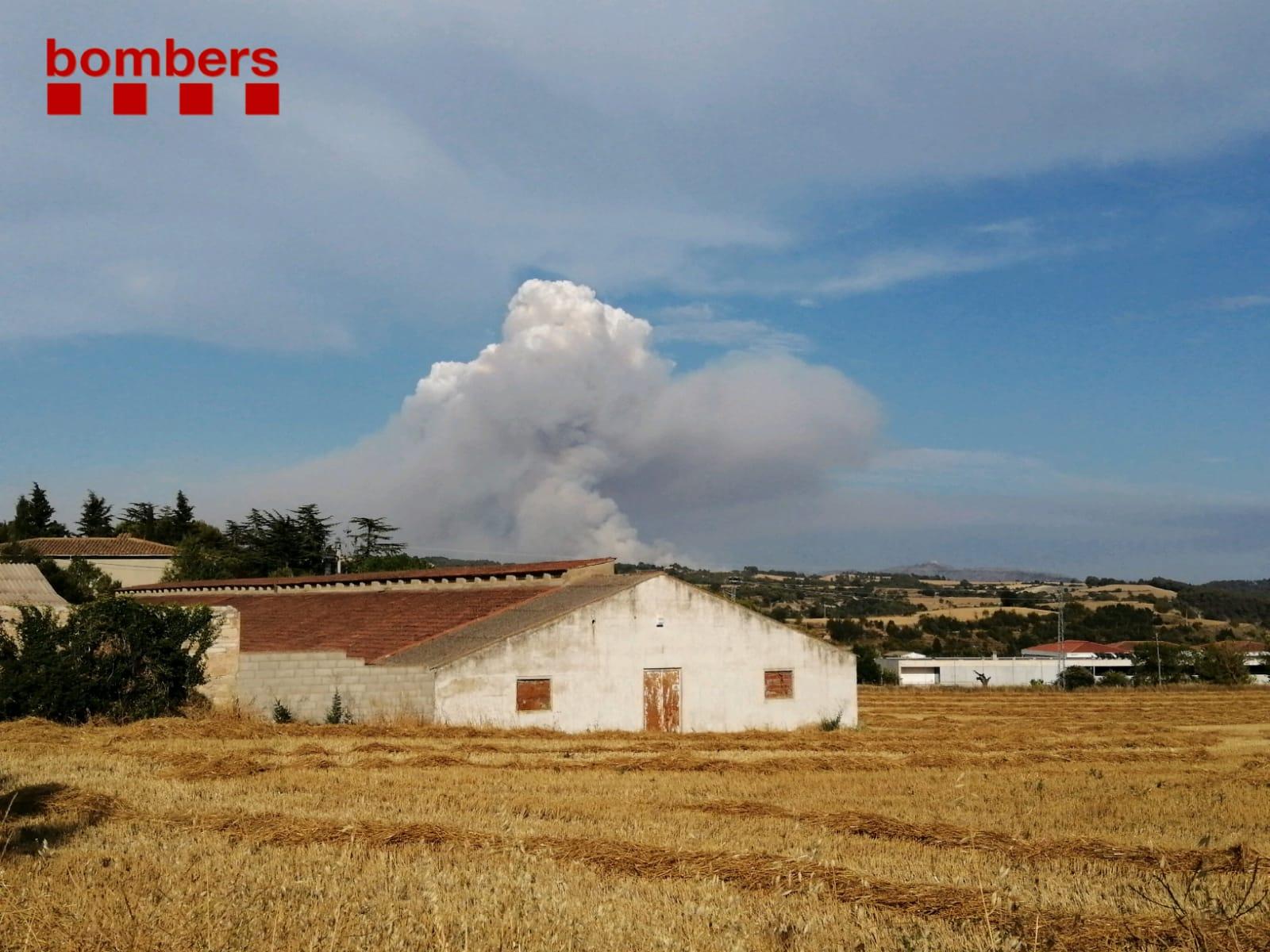 Imatge d'una de les represes de l'incendi de Santa Coloma de Queralt d'avui a la tarda.