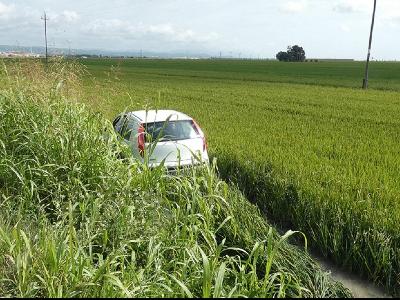 Vehicle sostret al lloc de l'accident