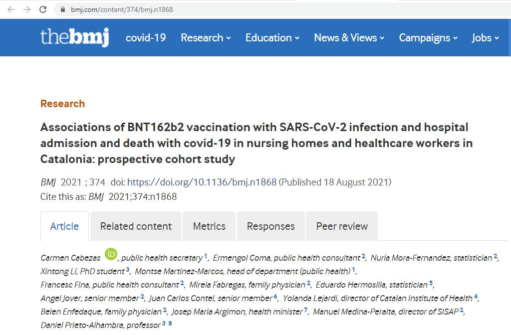 Un estudi mostra que les vacunes COVID-19 redueixen infeccions, ingressos i mortalitat per COVID-19 en més del 90% en residents, personal de residències i sanitaris de Catalunya