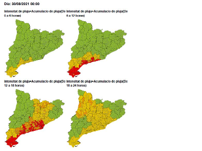 Mapa d'intensitat i acumulació de pluja per demà 30