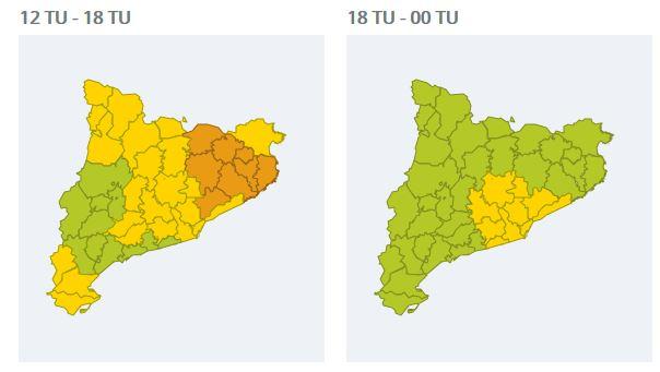 mapes de pluja per avui divendres