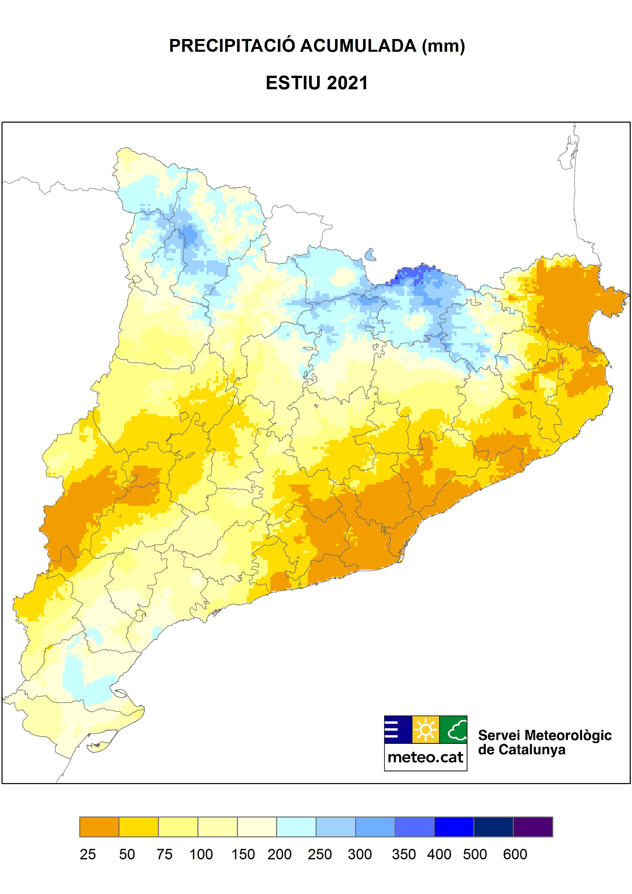 Mapa de precipitació acumulada durant de l'estiu 2021