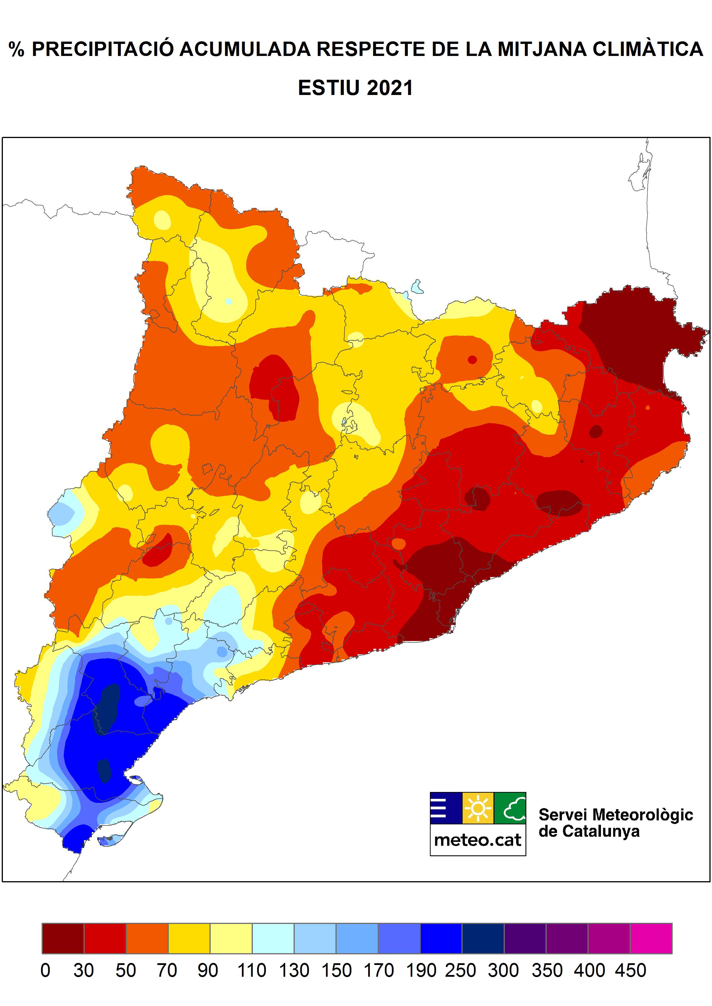 Mapa del percentatge de precipitació respecte de la mitjana climàtica