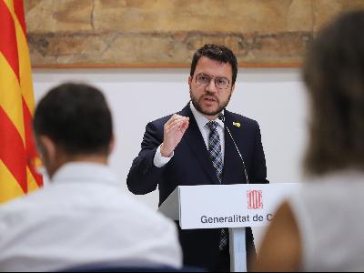 El president Aragonès, durant l'atenció als mitjans. Autor: Rubén Moreno