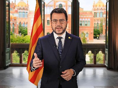 El president de la Generalitat durant el missatge institucional amb motiu de la Diada (foto: Jordi Bedmar)