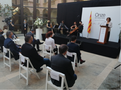 La delegada del Govern a Girona, Laia Cañigueral, durant l'acte institucional de la Diada