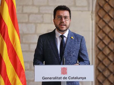 El president Aragonès ha comparegut al Palau de la Generalitat (foto: Rubén Moreno)