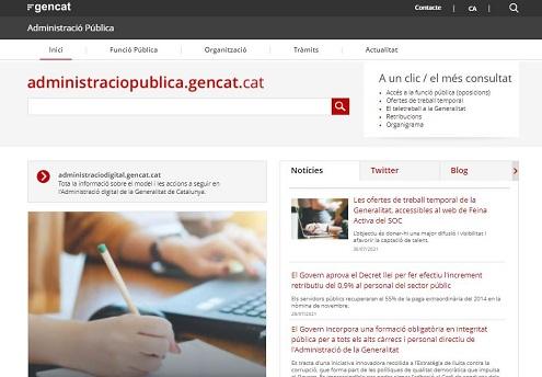Pàgina d'inici del web d'Administració Pública