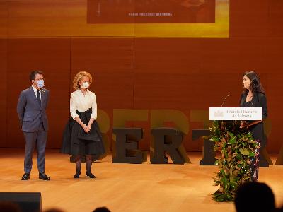 El president Aragonès durant el lliurament dels Premis Literaris de Girona (foto: Paco J. Muñoz)