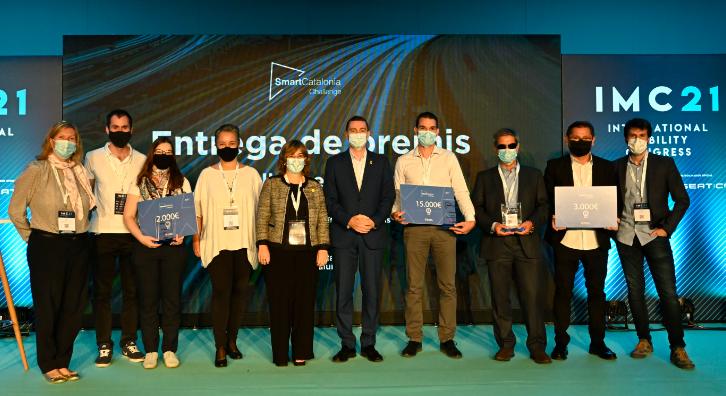 Imatge dels guanyadors de la 9a edició de l'SmartCatalonia Challenge de Mobilitat