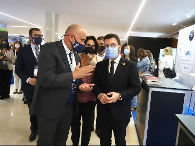 El president Argaonès durant la seva visita al International Mobility Congress (Foto: Rubén Moreno)