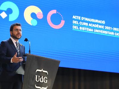 El president Aragonès a la inauguració del curs universitari 2021-22 (Foto: Rubén Moreno)
