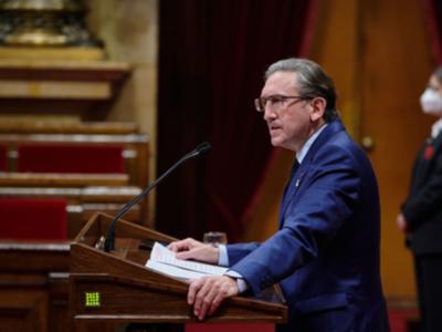 El conseller Jaume Giró, durant la seva intervenció al Ple del Parlament
