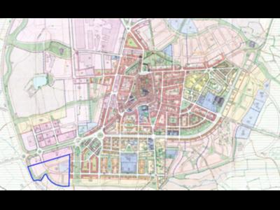 Siluetejada en blau, ubicació del nou eixample de Guissona.